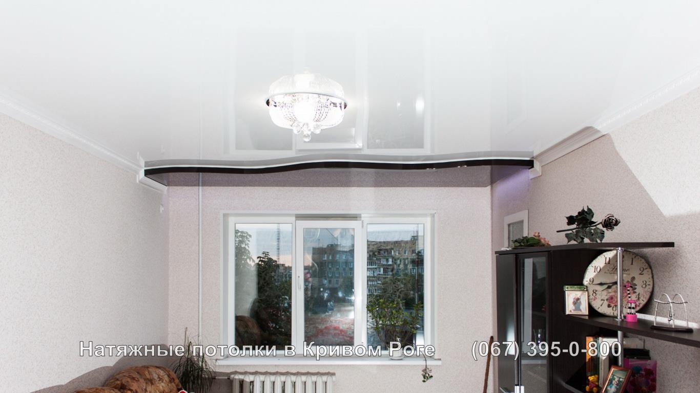 Уникальный криволинейный двухуровневый натяжной потолок фото цены 0673950800